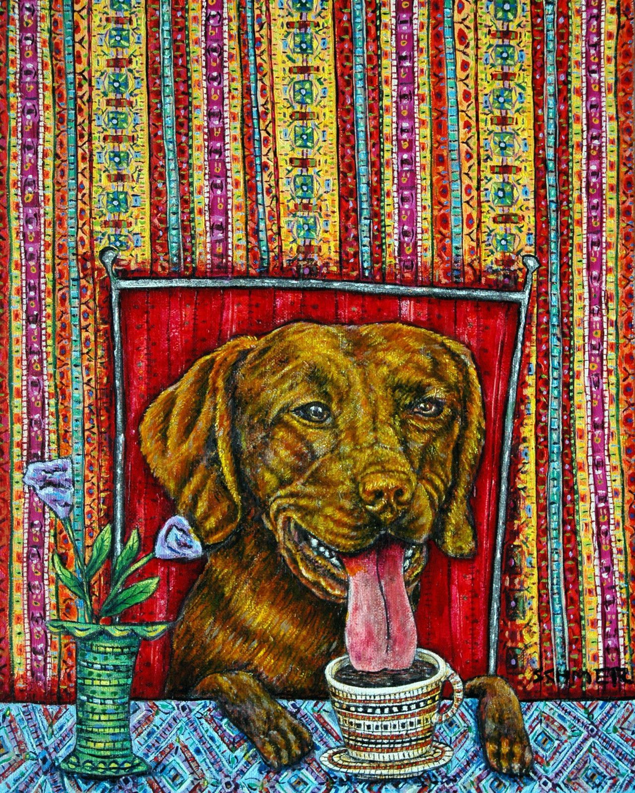 scottish terrier sleepy violinist violin animal  cafe art  picture 4x6  GLOSSY