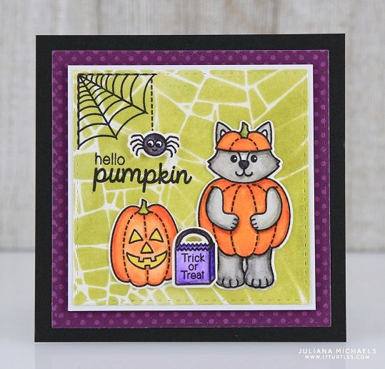 Hello Pumpkin Halloween Card by Juliana Michaels featuring Stenciled Background and Sunny Studio Stamps Halloween Cuties Stamp Set and Dies