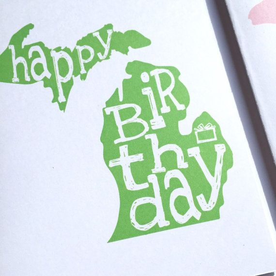 Michigan Birthday Card Mitten Card Happy Birthday Made In Etsy Mittens Card Birthday Cards Happy Birthday