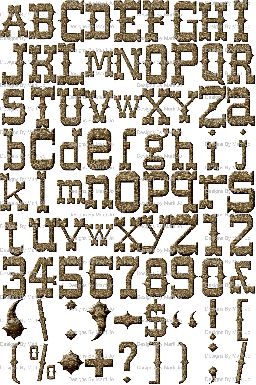 Western Alphabet Digital Clipart Wild West Printable