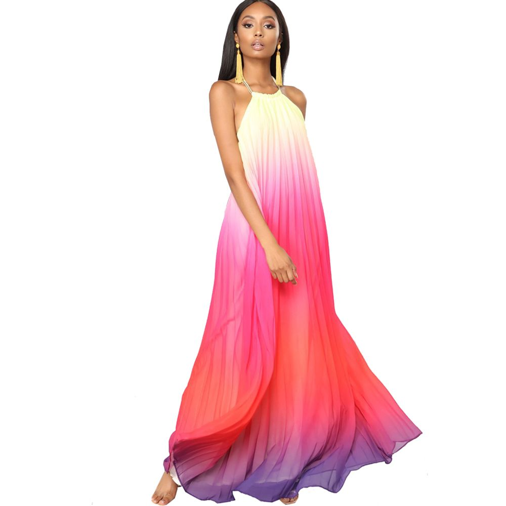 Summer maxi loose dress beach gradient chiffon long casual