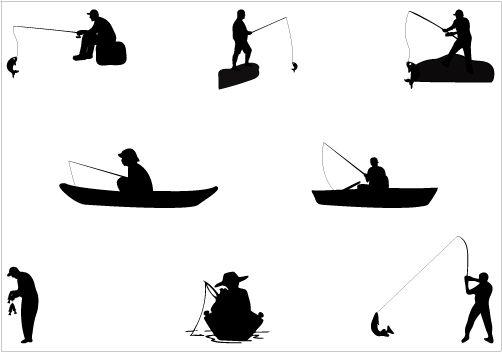 Man Fishing Silhouette Vector Graphics Download Fish Silhouette Silhouette Clip Art Fish Man