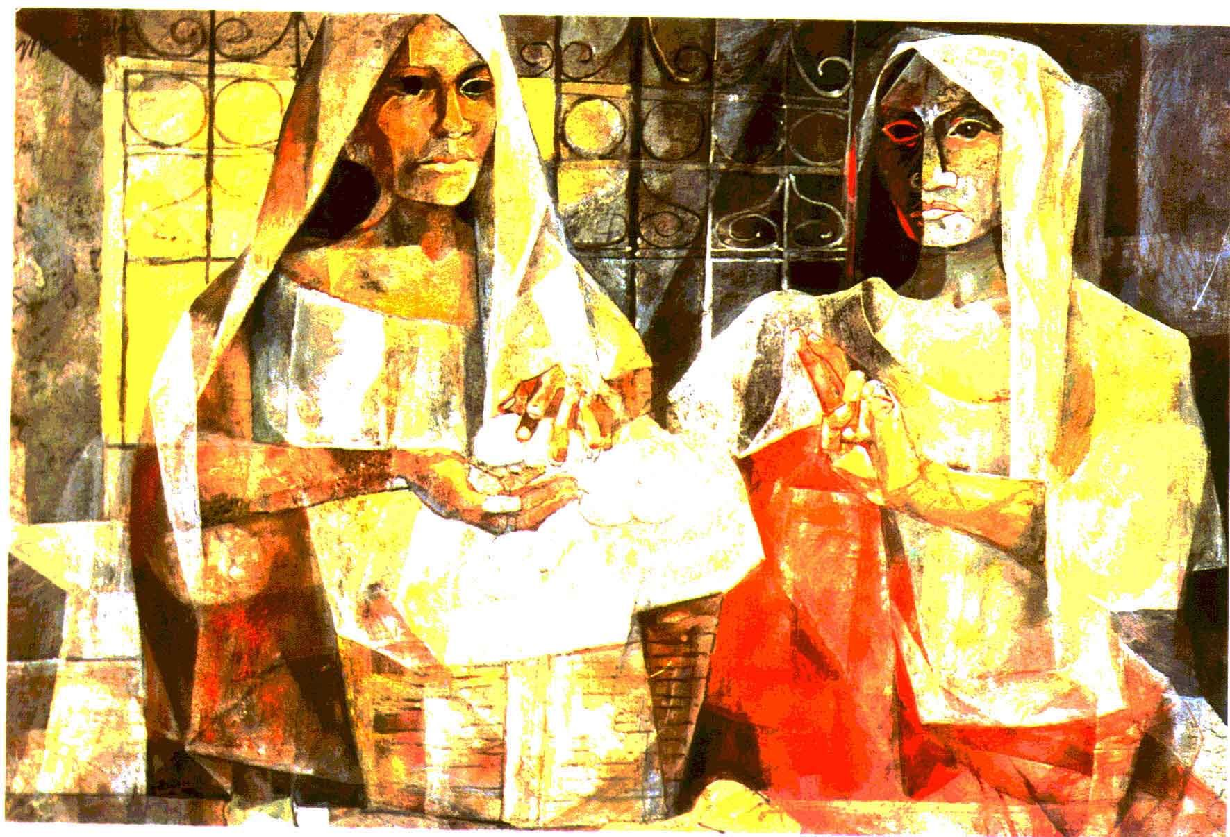 Prayer before meals by vicente manansala filipino cubist