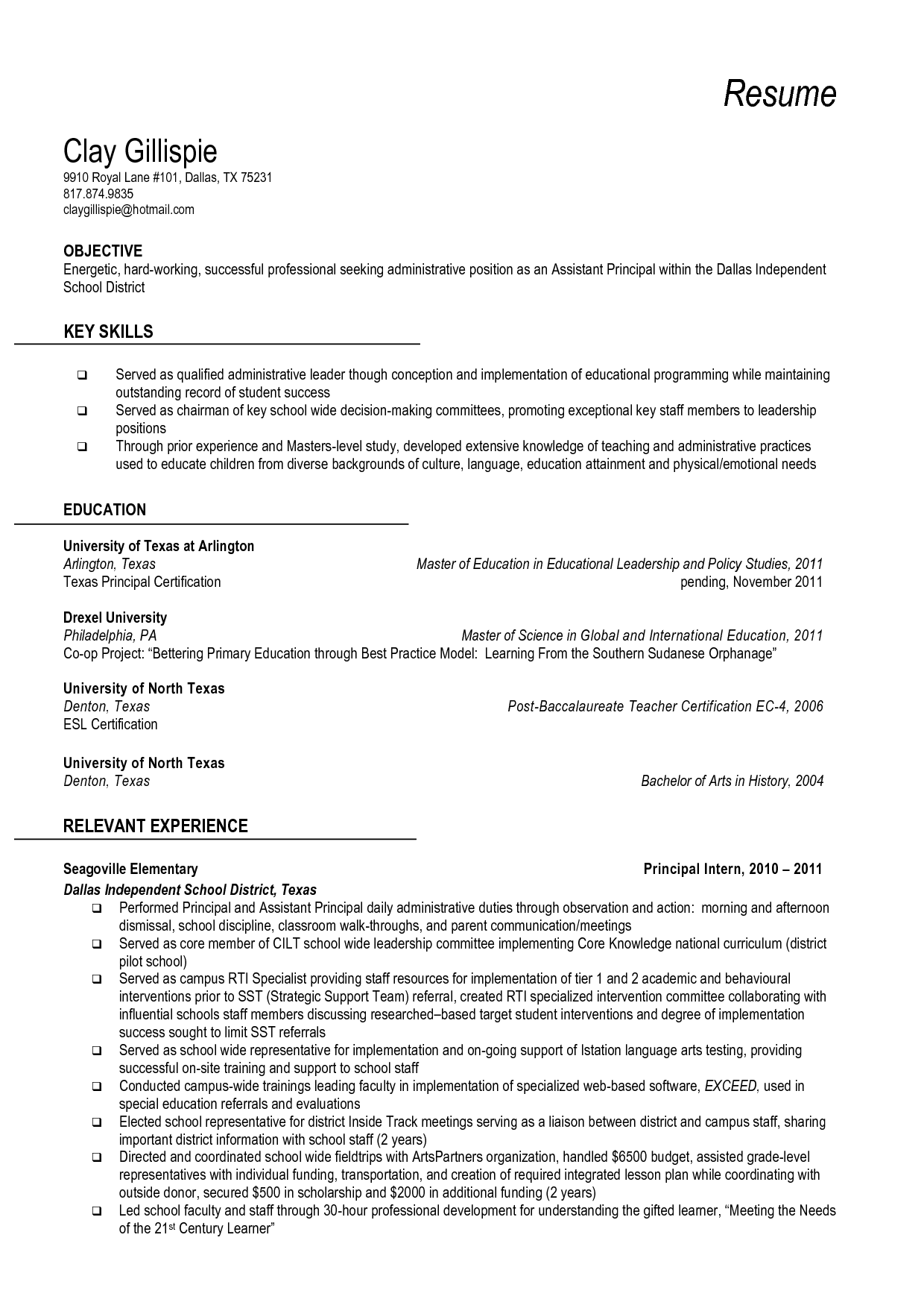 Resume And Vice Principal  Vice Principal Resume Sample Free