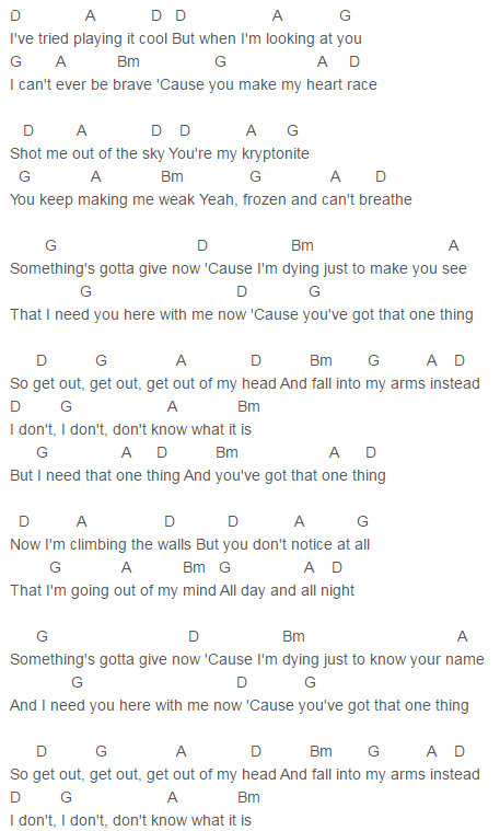 One Direction One Thing Chords Lyrics for Guitar Ukulele Piano ...
