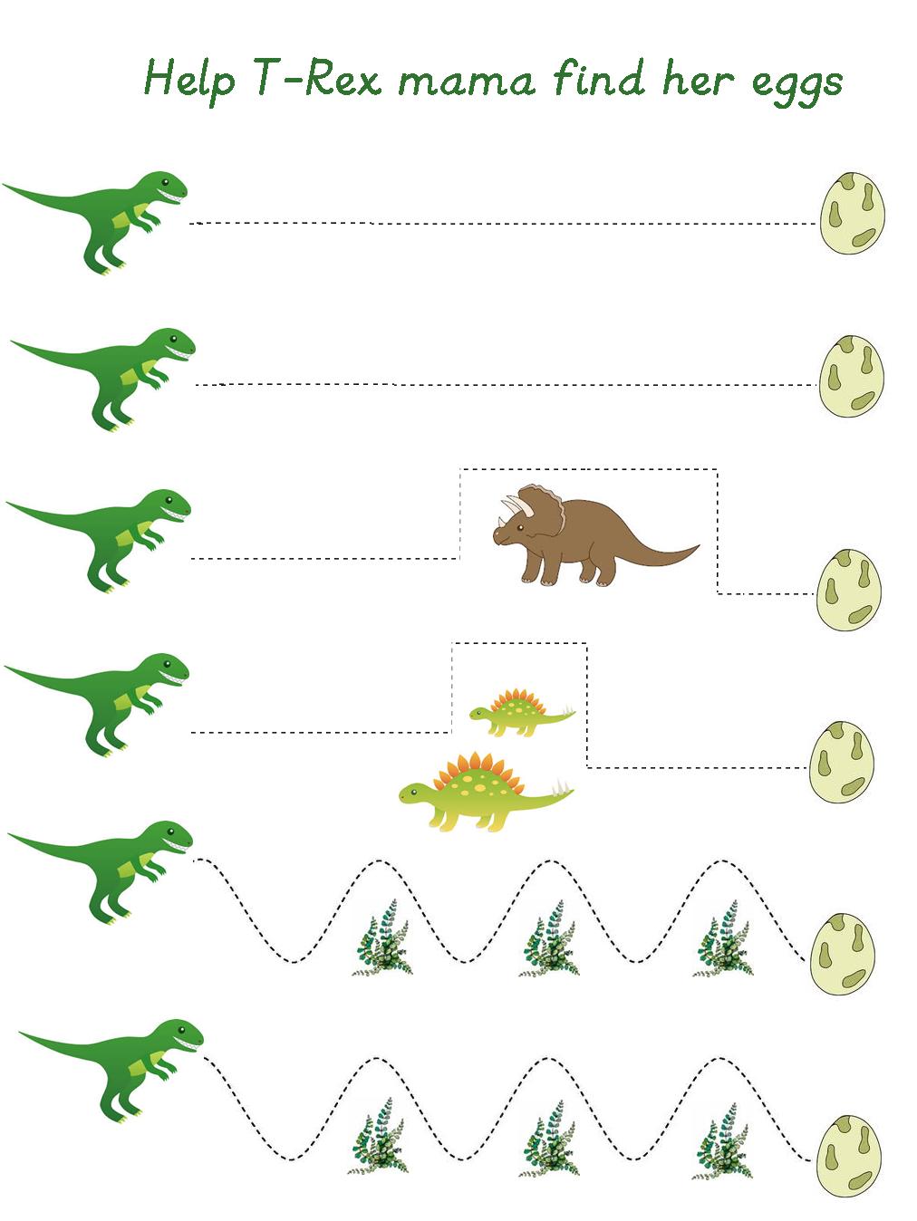 Pre Writing Printable ~ Paper House   Dinosaurs preschool [ 1348 x 1012 Pixel ]