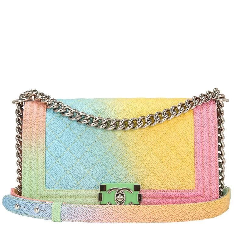 4e15a934019c Chanel Rainbow Printed Caviar Medium Boy Bag 1   Chanel must haves ...