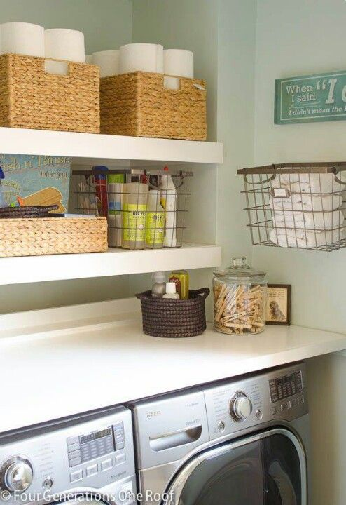 I Like This Idea Shelf Directly Over Washer Dryer Gives You A Place To Fold Iron Etc May Laundry Room Inspiration Laundry Room Makeover Laundry Room Design