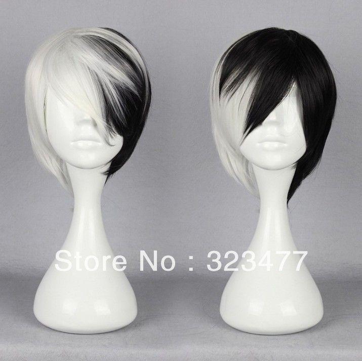 Black White Japanese Harajuku Anime Cosplay Wig Cosplay Hair Wig Hairstyles Anime Wigs