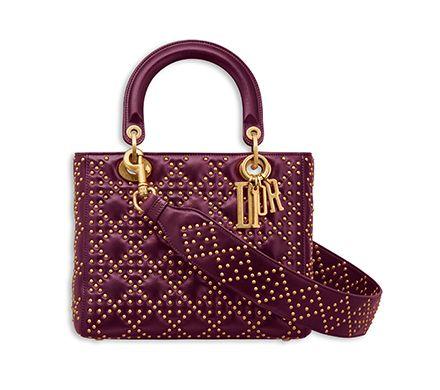 Sac Lady Dior Souple En Veau Cloute Couleur Amarante Dior Sacs Dior Sac Lady Dior Sac Cloute