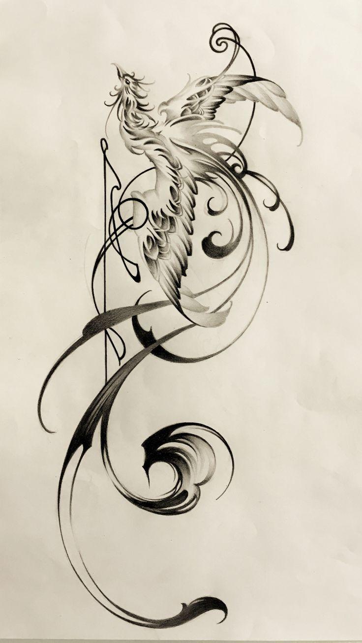 phoenix with brushstrokes tattoo design sumi tattoo. Black Bedroom Furniture Sets. Home Design Ideas