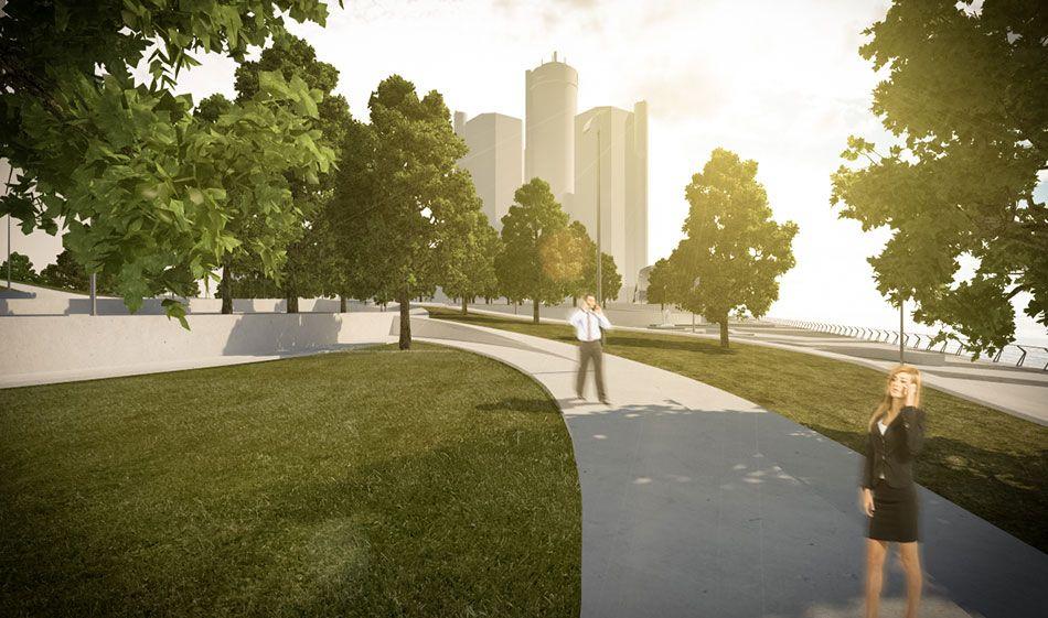 Diseño de espacio público del área comprendida entre Cobo Hall y la entrada al túnel hacia Canadá. Diseño de paisaje, pavimentos, áreas verdes, iluminación y mobiliario urbano.