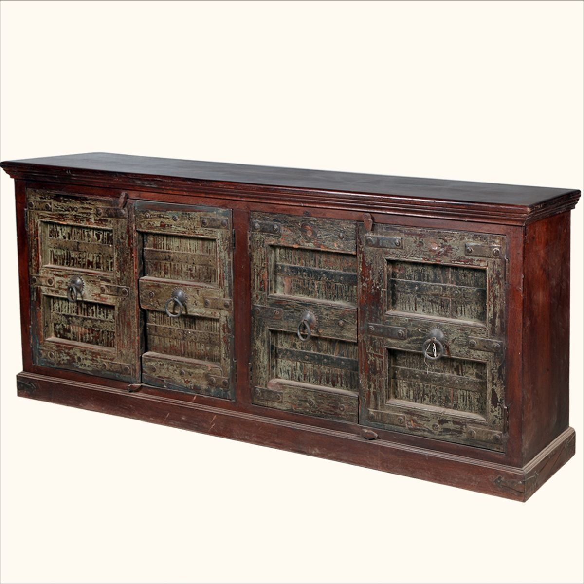 Rustic Reclaimed Wood English Gothic Sideboard Buffet Storage Cabinet