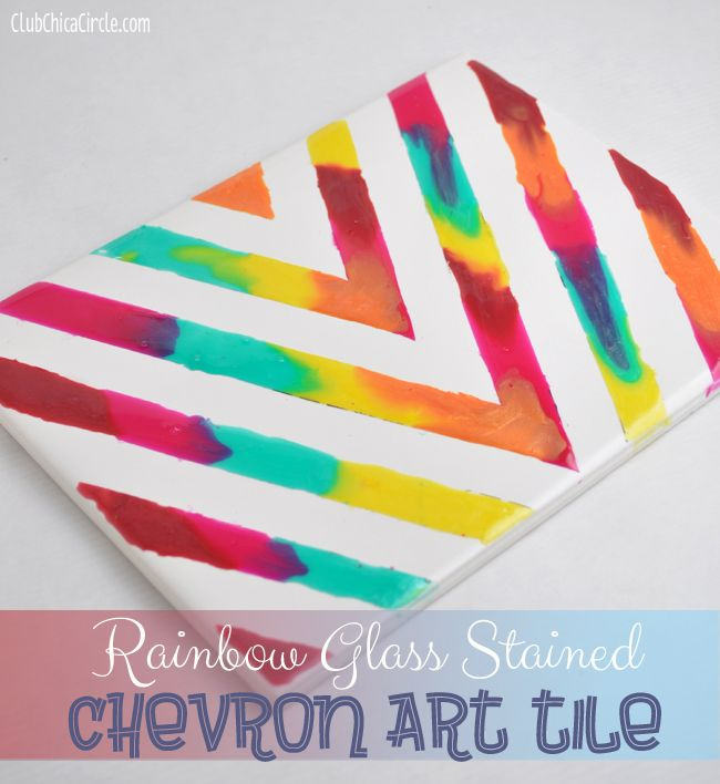 Rainbow Chevron Art Tile Home Decor Craft Handmade Gifts Chevron
