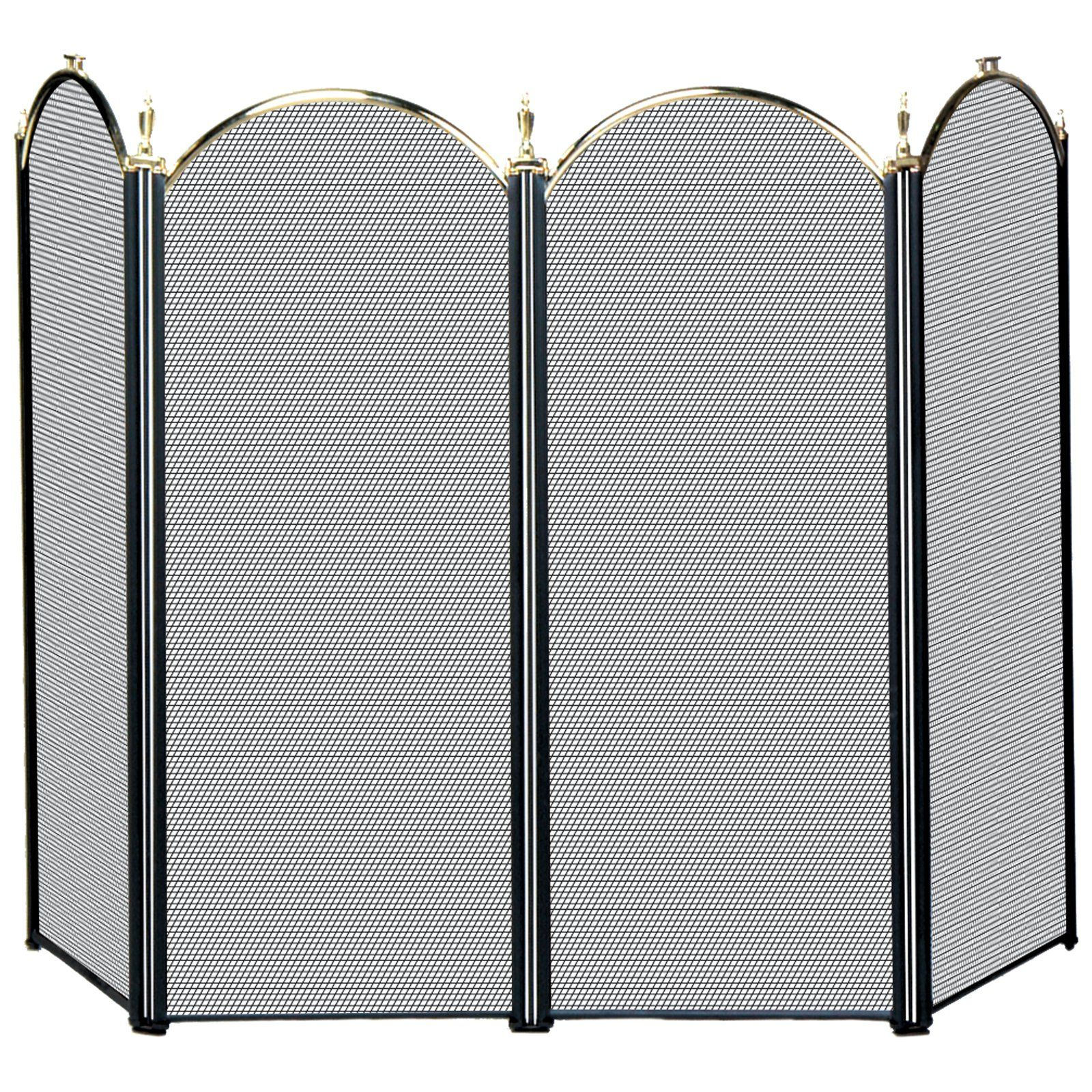 Uniflame 4 Panel Triple Plated Folding Fireplace Screen S41010ab
