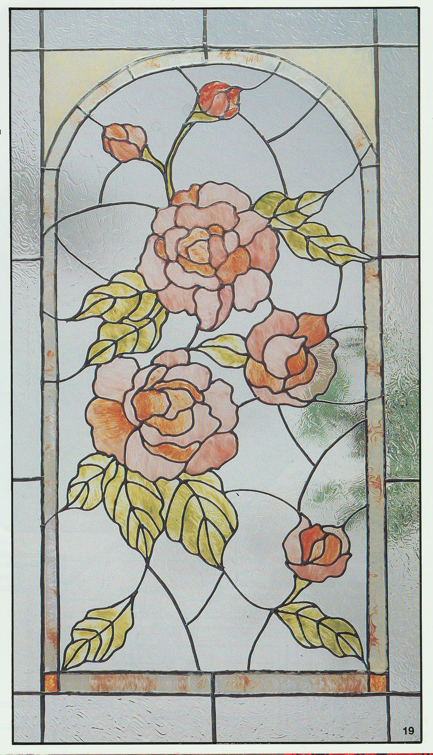 Pin stained glass pattern art nouveau roses on pinterest for Rose window design