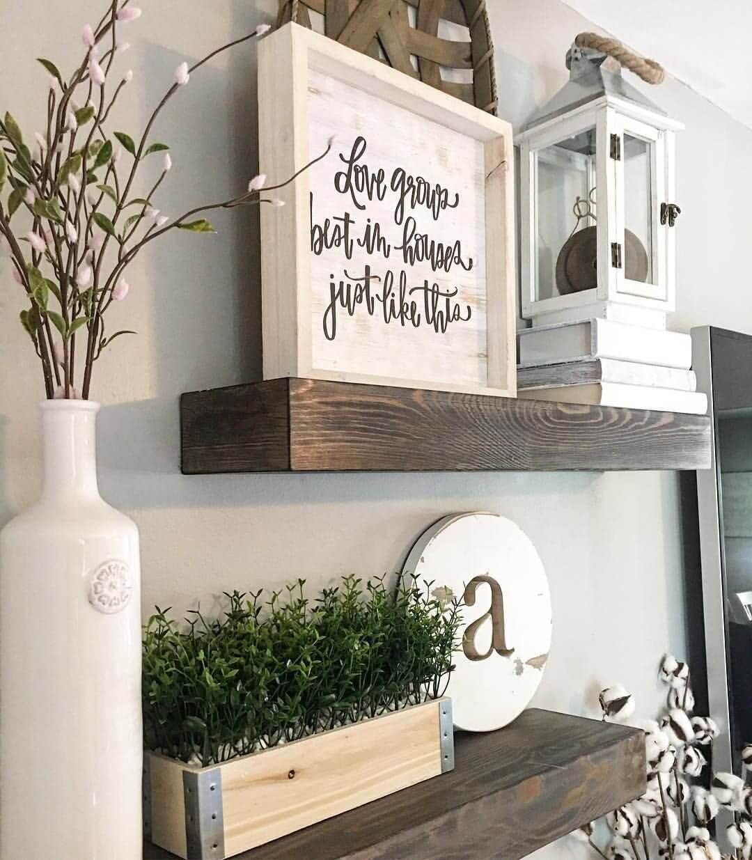 26 Farmhouse Shelf Decor Ideas That Are Both Functional And Gorgeous Modern Farmhouse Living Room Decor Farm House Living Room Farmhouse Decor Living Room