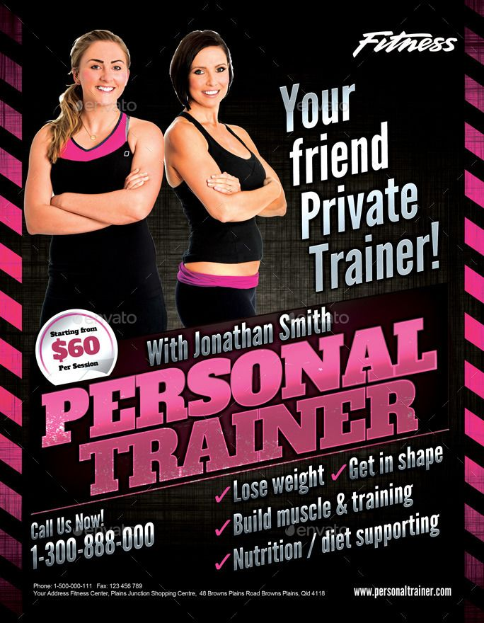 personal trainer flyer by inddesigner graphicriver fitness