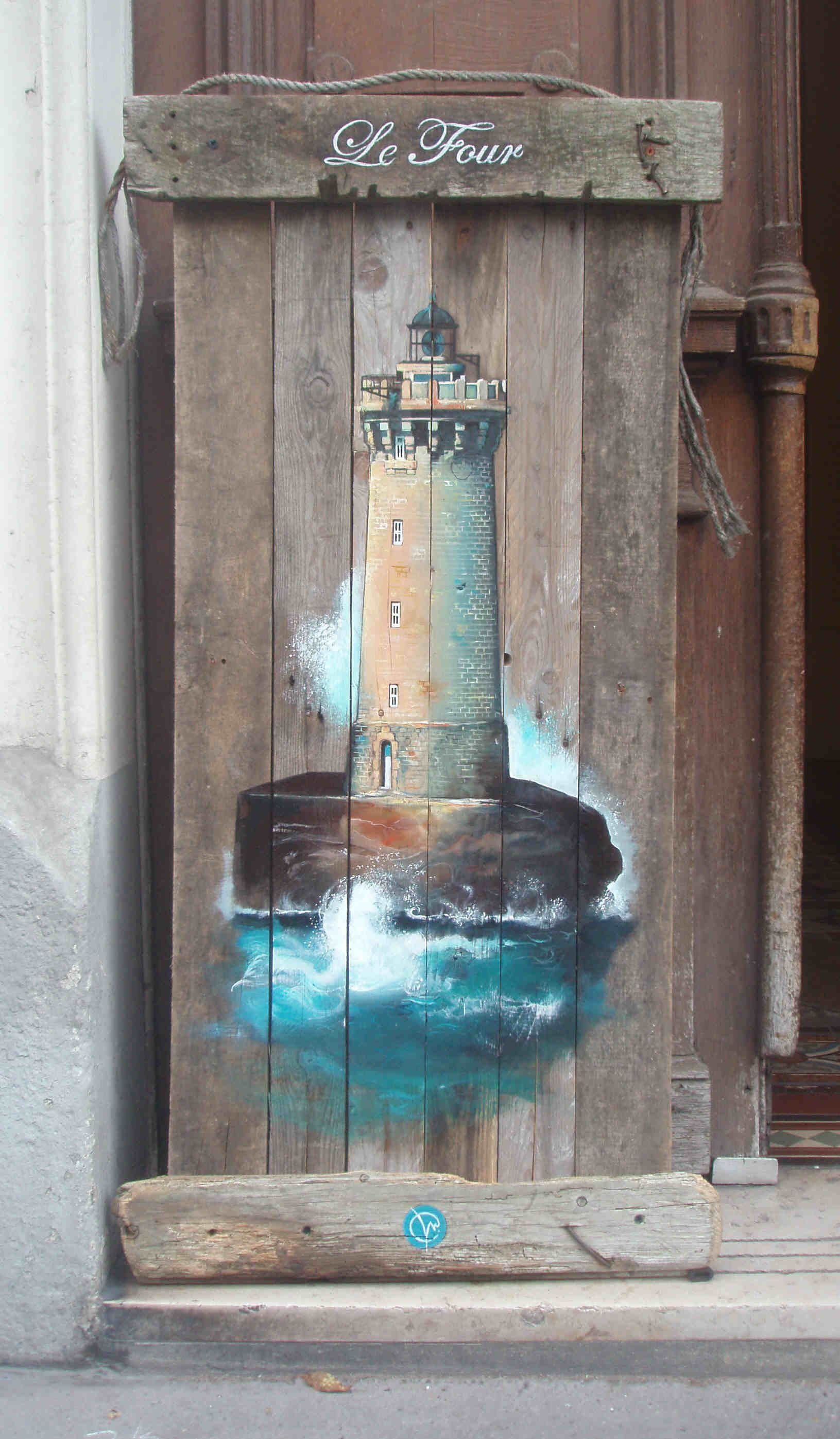 Bois flott acrylique lighthouse painting on driftwood coastal art pint - Pinterest bois flotte ...