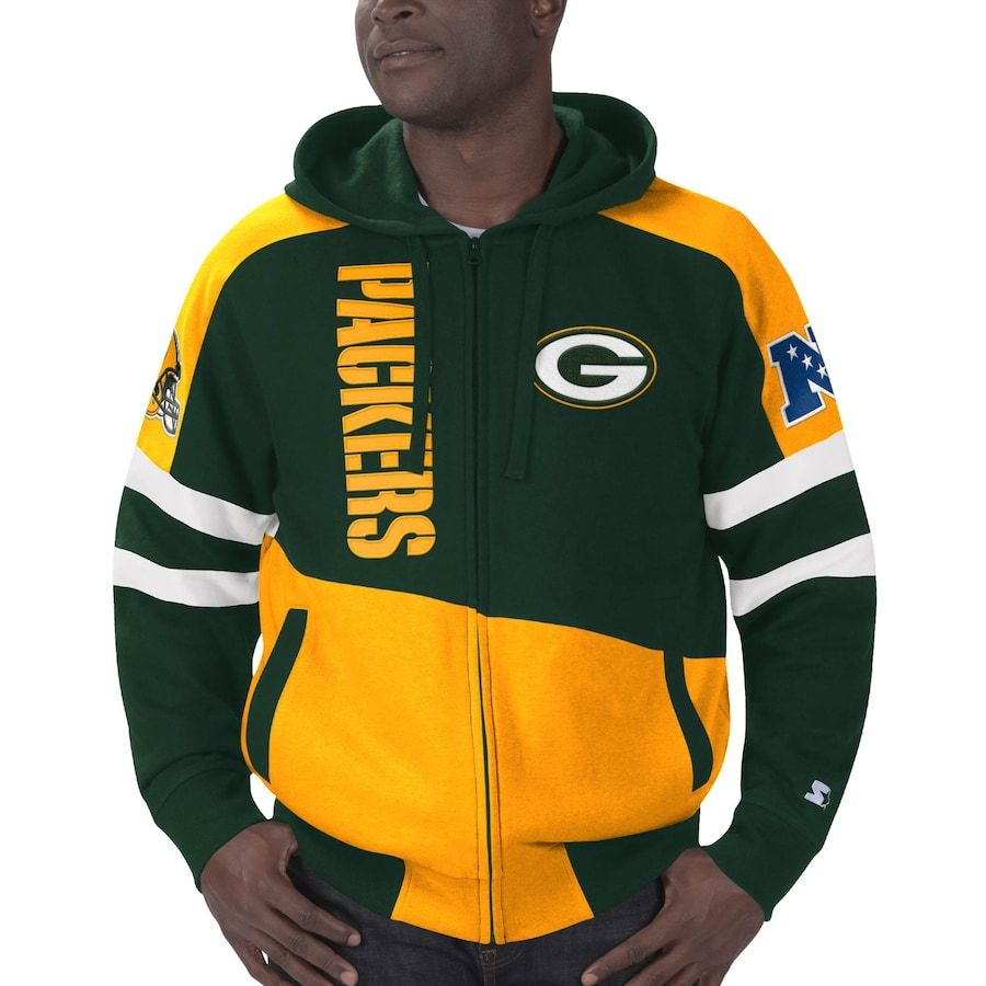 Green Bay Packers Starter Extreme Full Zip Hoodie Green Yellow Full Zip Hoodie Green Bay Packers Green Bay Packers Sweatshirt [ 900 x 900 Pixel ]