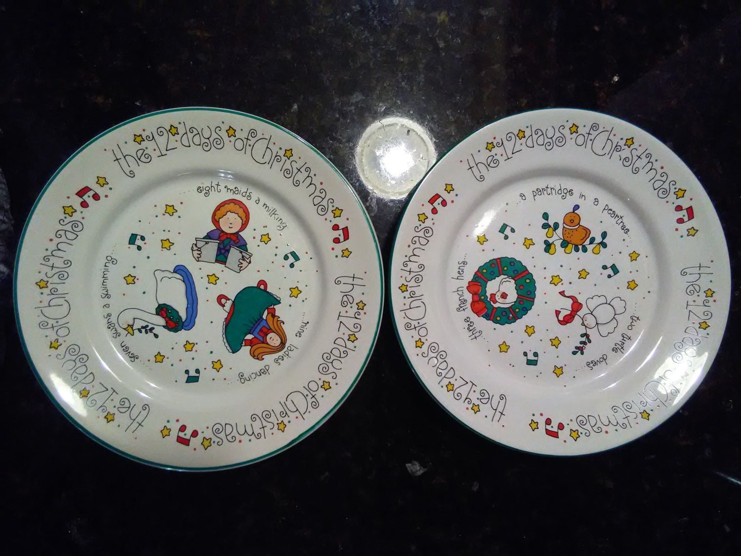 Vintage Holiday Whimsical Cookie Luncheon Plates Newcor Stoneware Twelve Merry Days & Vintage Holiday Whimsical Cookie Luncheon Plates Newcor ...