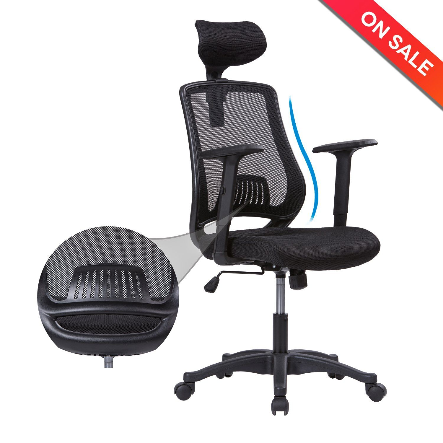 new racing itm chair ergonomic design back blue office gaming high computer oc