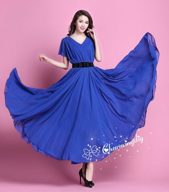 110 Colors Double Chiffon Blue Long Party Dress Short Sleeve Evening Wedding Lightweight Maternity Summer Holiday Bridesmaid Maxi Skirt J002 – Vestidos elegantes