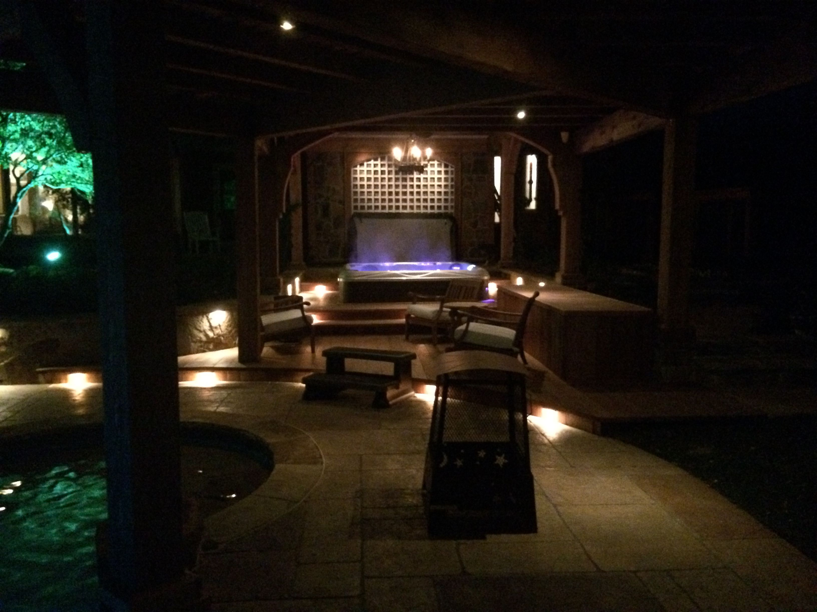 Spa covered by custom arbor wired with chandelier light fixture spa covered by custom arbor wired with chandelier light fixture step lighting pool lighting aloadofball Images