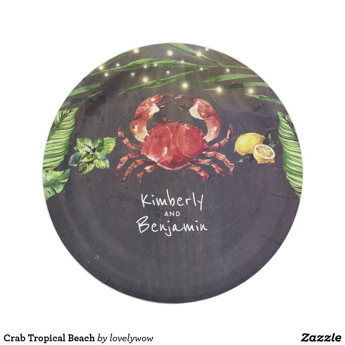 Crab Tropical Beach Paper Plate  sc 1 st  Pinterest & Crab Tropical Beach Paper Plate | Paper plate crab Favors and Weddings