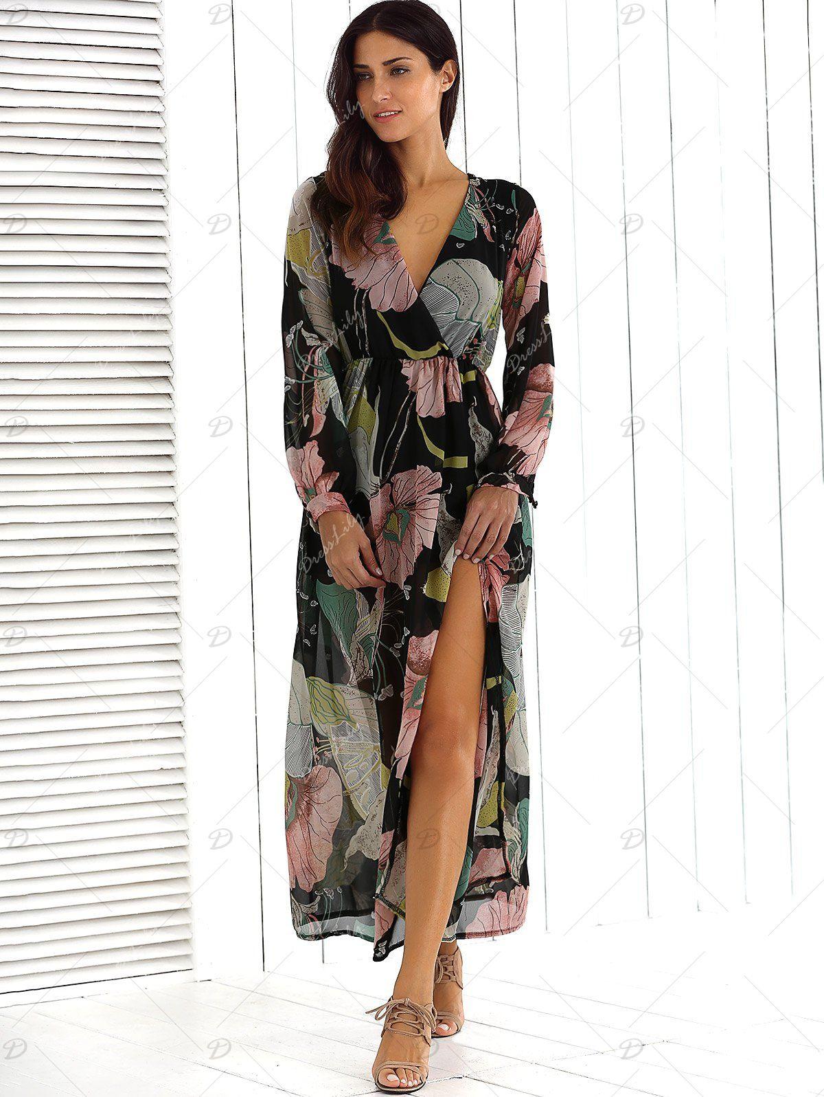 627c3c4608 Surplice Summer Floral Maxi Beach Dress with Slit