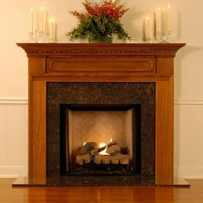Marvelous Dashing Wall Mount Honey Wood Fireplace Mantel Design With Candle Light  Decorations Along With Flower Decorations