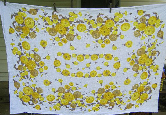 Vintage LINEN TABLECLOTH Floral Yellow & Gray Flower Design! by LavenderGardenCottag