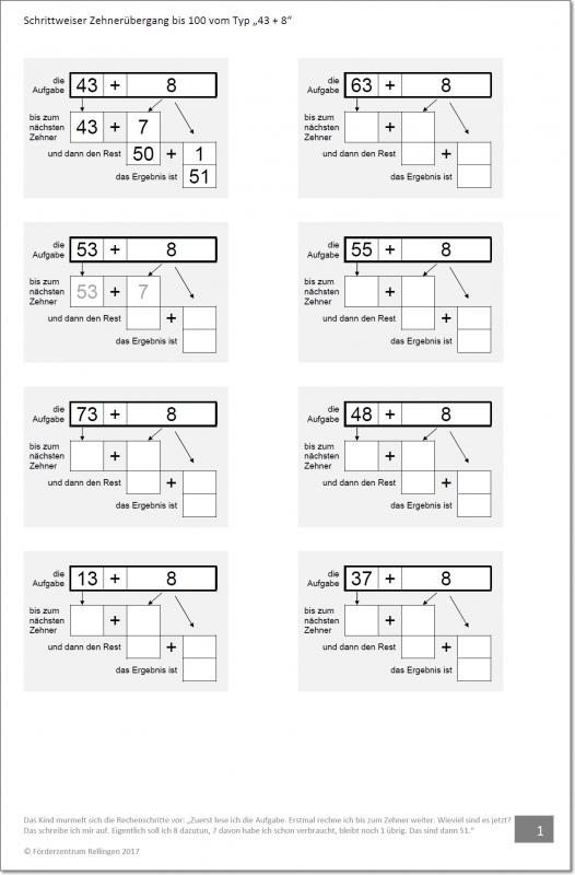 schrittweise Addition im Zahlenraum bis 100 vom Typ ZE+E, Zehner ...
