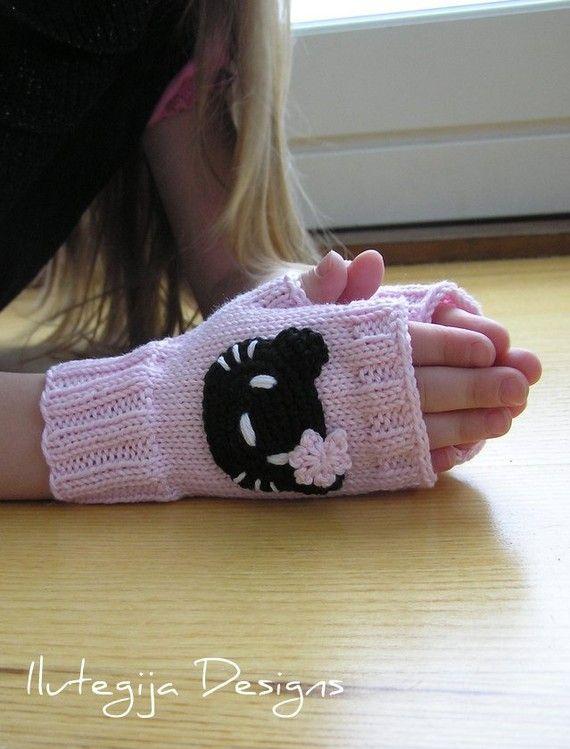 3 to 5 years..Hand Knit Cute Pink Hello Kitty Wrist Warmers | za ...