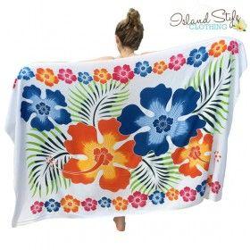 65df2ff3afcc0 Gorgeous Sarong 'Blue Floral' hand-painted 'batik style. Hawaiian floral  print. Pareo plus size. Luau, Beach, Cruise