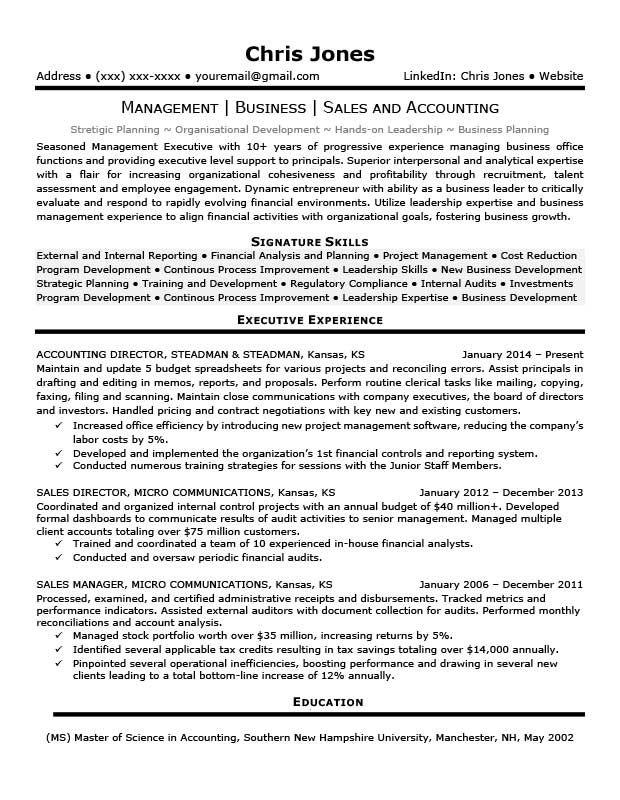 Black  White Executive Resume Template Resume sample Pinterest