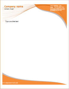 Business Orange Curve Letterhead Letterhead Templates Download At
