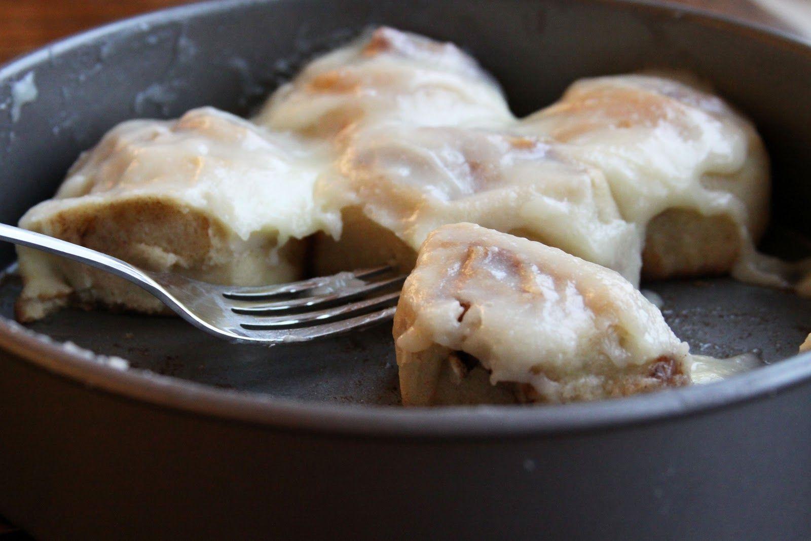 Eggnog Sweet Rolls: can use cream cheese, powdered sugar, eggnog glaze on other cinnamon roll recipe..