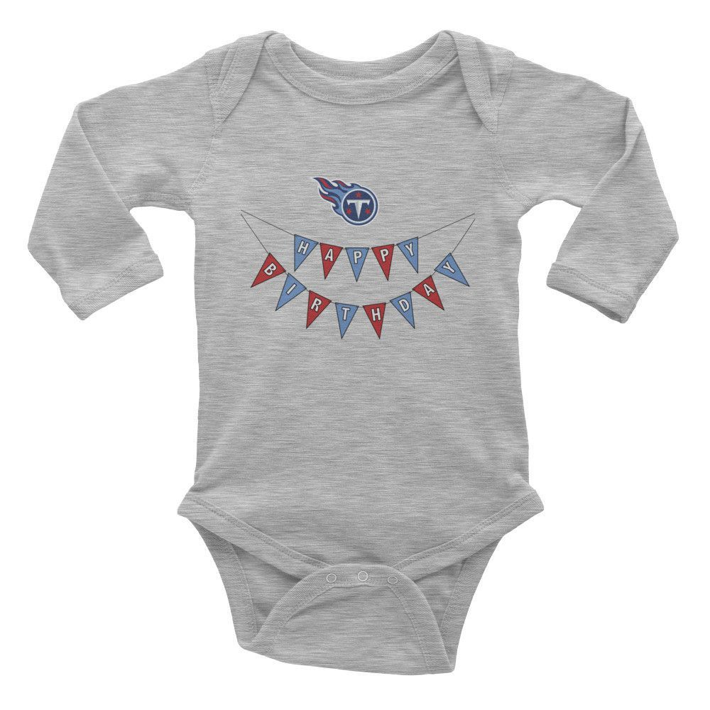 Happy Birthday Banner Infant long sleeve one-piece, Titans
