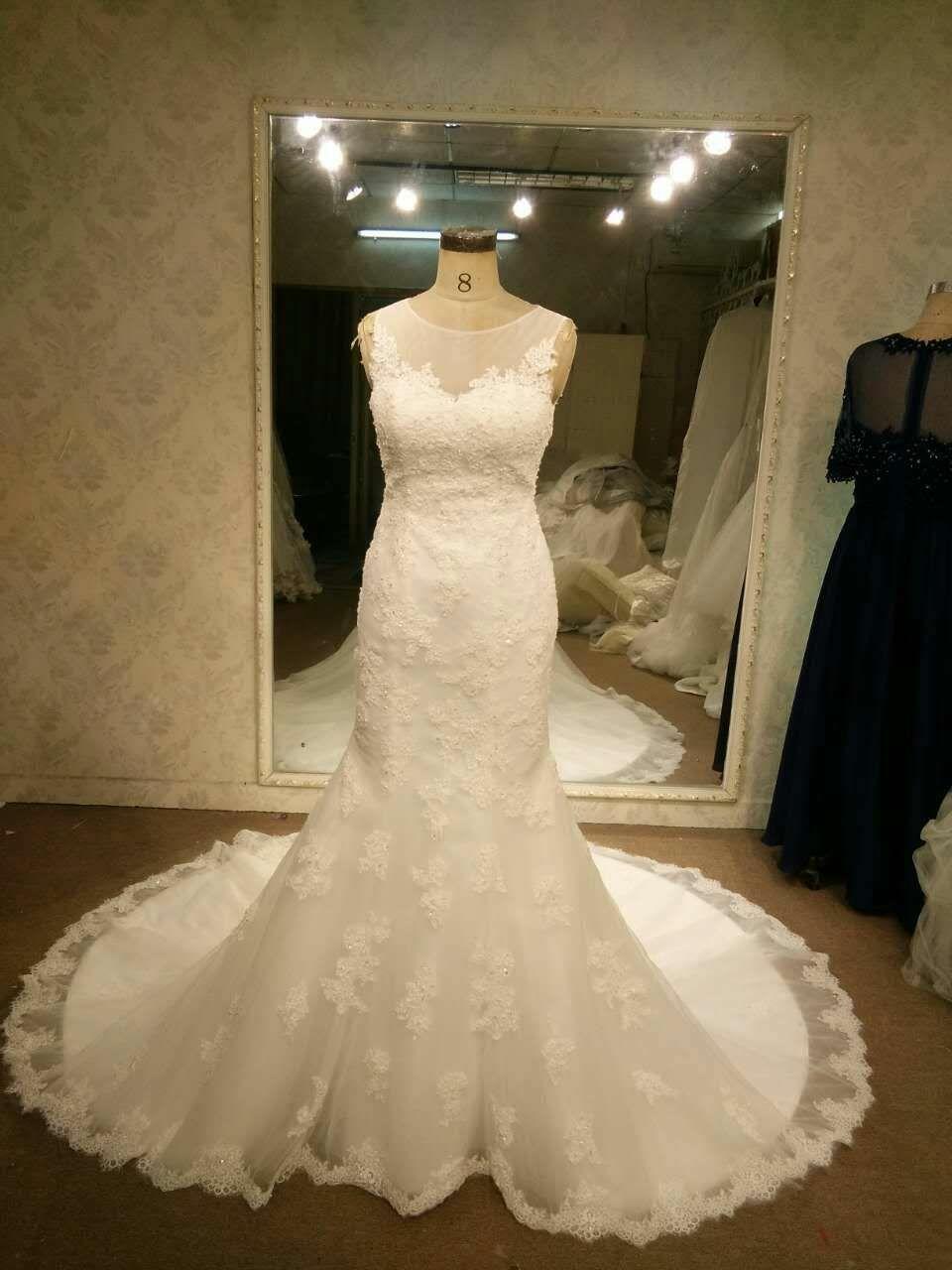 Illusion neckline bridal dresses with no sleeves by darius