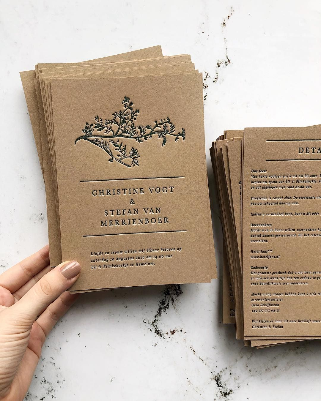 Letterpress Wedding Invitation On Sand Card Stock A Nature