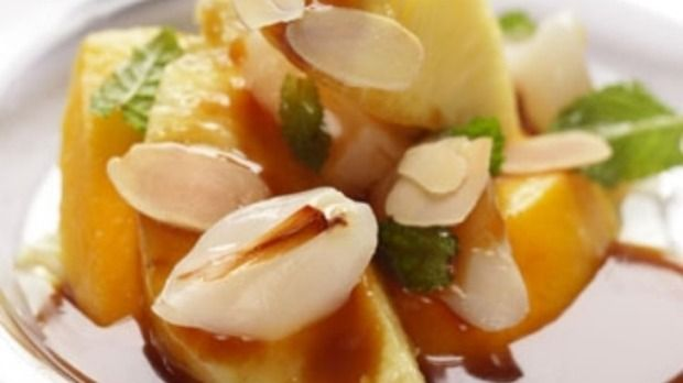 Pineapple and lychees with palm sugar caramel A delicious combination devised by chef Neil Perry
