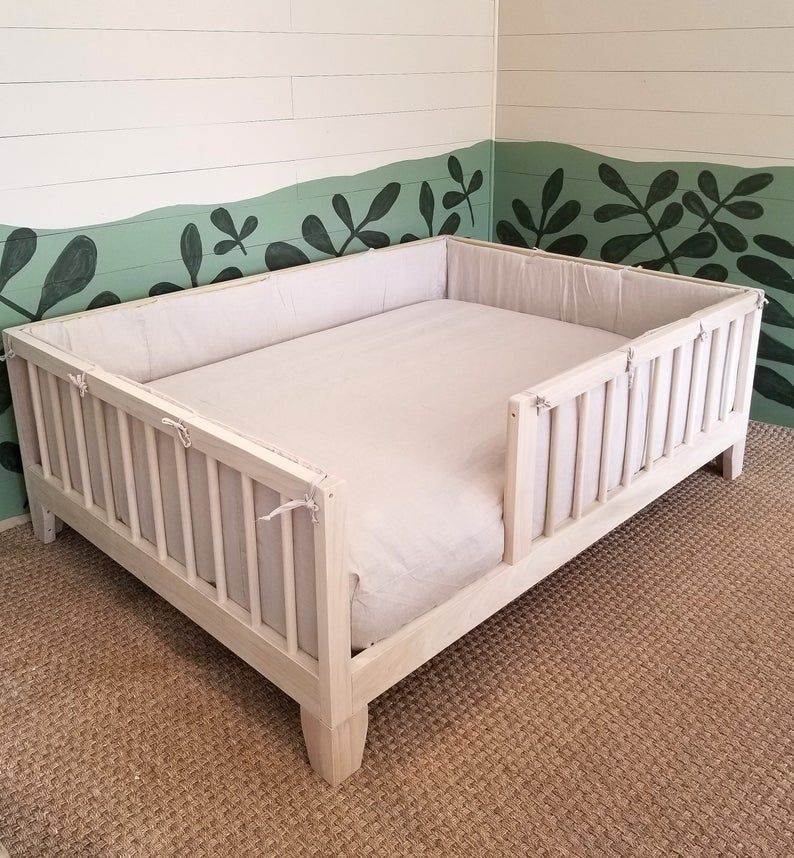 Twin Or Full Size Montessori Floor Bed To Raised Bed Frame Convertible With Rails Full Floor Bed Hardwood 4 Railing Legs Slats In 2021 Floor Bed Raised Bed Frame Kids Toddler Bed Guard rail for toddler beds