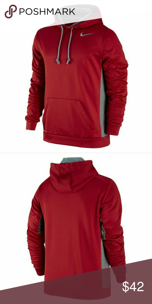 4ca22232c32c Nike men s hoodie thermal fit NWT Red grey (hL) Nike Shirts Sweatshirts    Hoodies