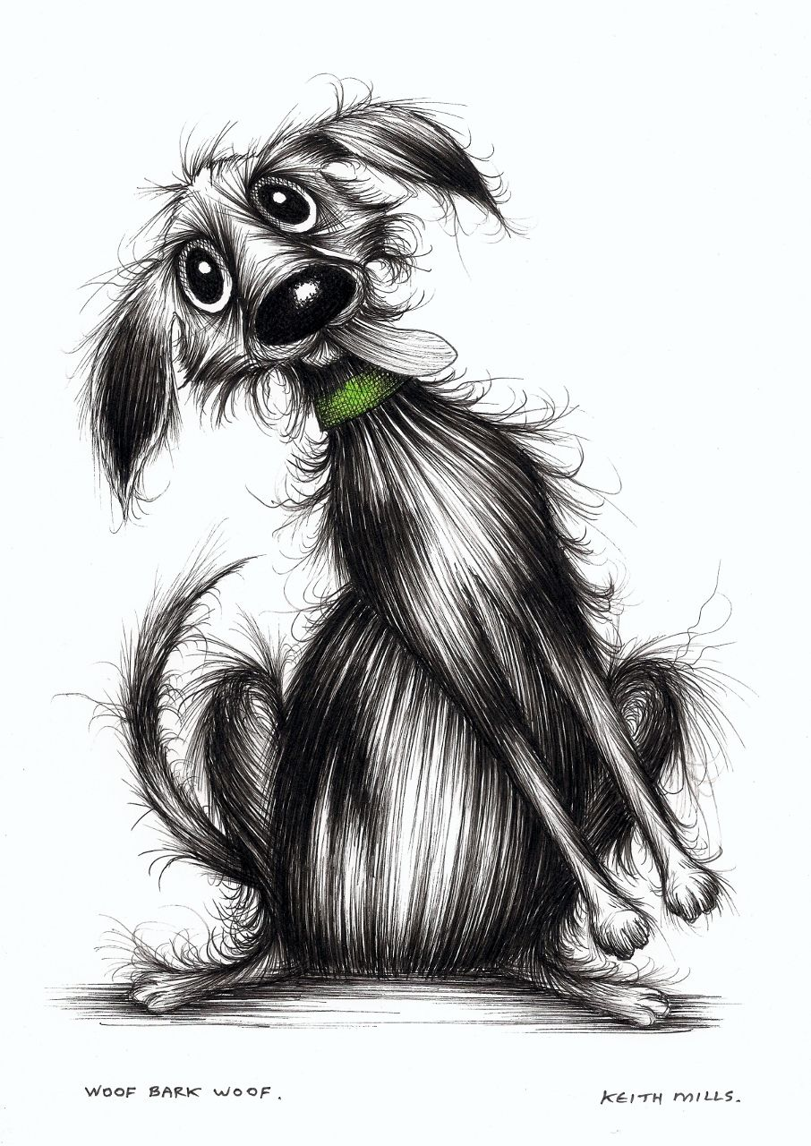 Woof bark woof by Keith Mills. Dog illustration, Scruffy