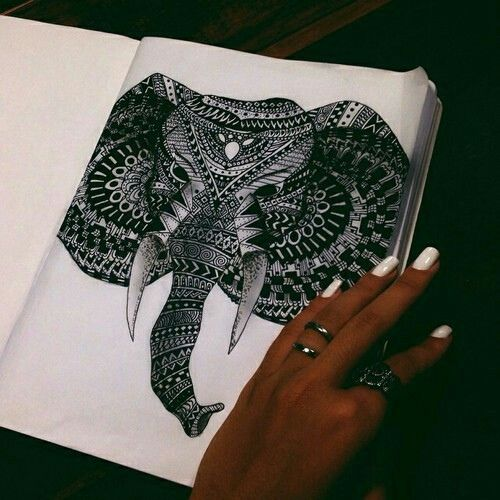 Imagem de elephant, art, and drawing