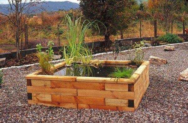 kleiner Gartenteich Holz Kasten selber bauen