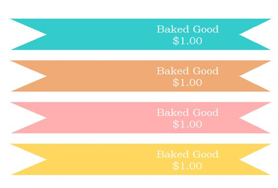 Bake Sale Price Flags Template Wrap Muffin In Plastic Wrap