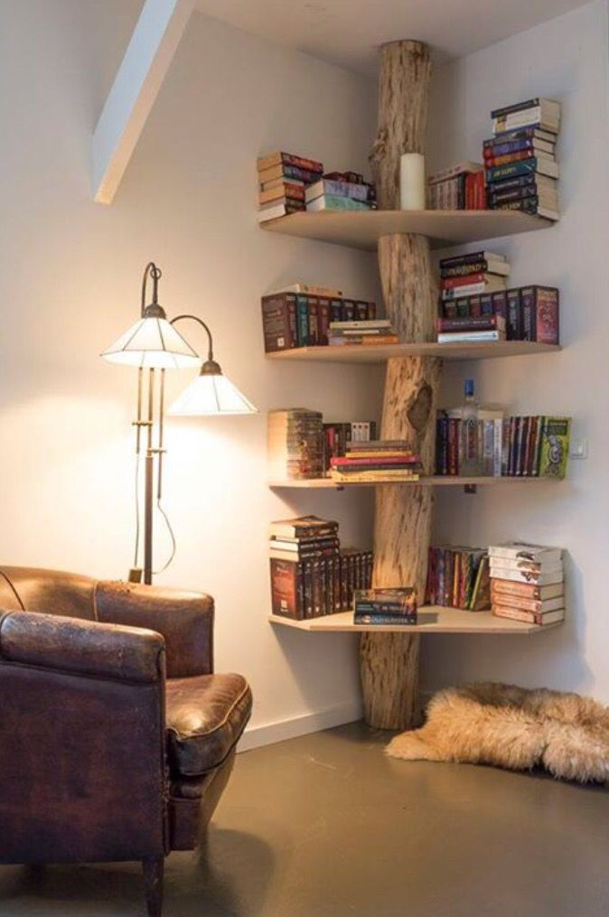 DIY Natural Bookshelf Bring The Forest Inside Home