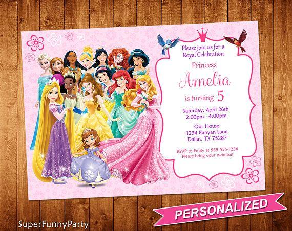 Invitacion Princesa Disney Disney Princesa Cumpleanos Disney Princess Invitations Princess Invitations Disney Princess Birthday Party